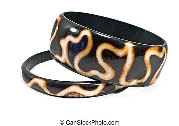 legno, nero, bianco, braccialetto, isolato