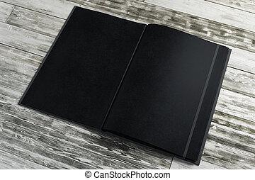 legno, nero, blocco note, vuoto, desktop