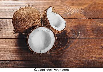 legno, noce di cocco, fondo