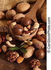 legno, noci, organico, tavola, miscelare
