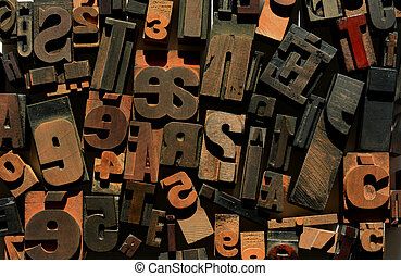 legno, numeri, lettere, letterpress