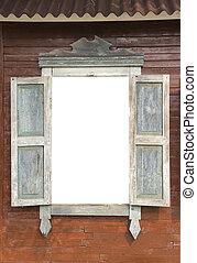 legno, otturatori, vecchio, parete, finestra