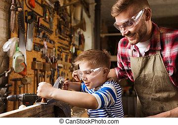 legno, padre, aereo, figlio, officina, rasatura