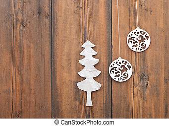 legno, palla, albero, carta, fondo, natale