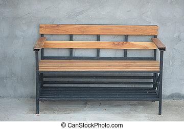 legno, panca, con, soffitta, cemen, parete