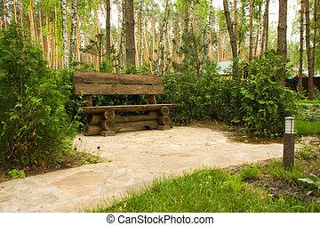 legno, panca, parco