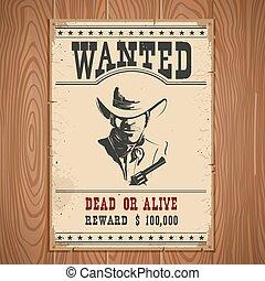 legno, parete, vendemmia, poster.western, carta, desiderato