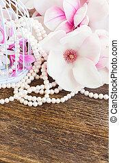 legno, Perle,  magnolia, fiori, tavola