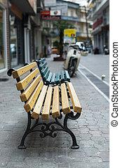 legno, persone., panca, strada., no