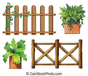 legno, piante, conservato vaso, recinto
