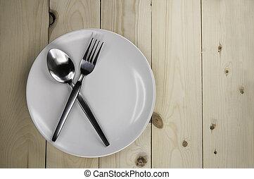 legno, piastra, coltelleria, tavola