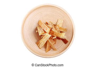 legno, piastra, con, pesci secchi, isolato, immagine bianco, fondo