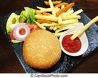 legno, piastra., hamburger, tavola, nero