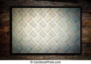 legno, piastra, metallo, fondo