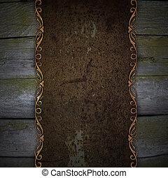 legno, piastra, metallo, ruggine, fondo