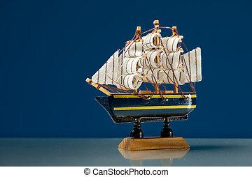 legno, piccolo, nave modello, navigazione