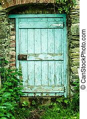 legno, pietra, porta, parete, blu