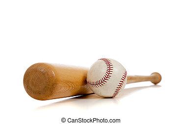 legno, pipistrello, baseball, bianco