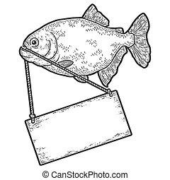 legno, piranha, graffio, fish, schizzo, segno., imitation., ...