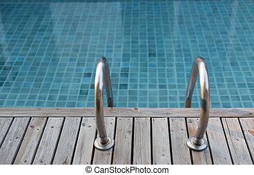 legno, piscina, scala, ponte