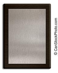 legno, placca, con, ciotola d'argento, isolato, su, white., percorso tagliente, è, included.