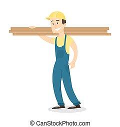 legno, planks., lavoratore
