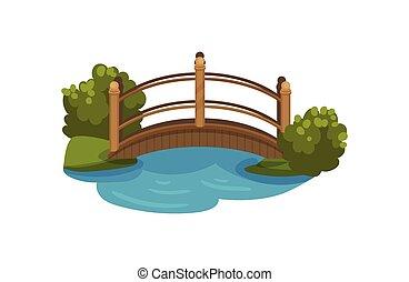 legno, ponte arco, con, railings., passerella, sopra, piccolo, pond., cespugli verdi, e, grass., appartamento, vettore, elemento, per, mappa, di, parco città