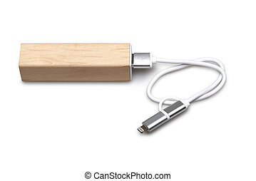 legno, portatile, esterno, potere, banca, per, telefono...