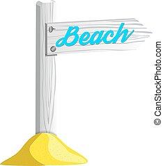 legno, puntatore, isolato, illustrazione, vettore, spiaggia bianca