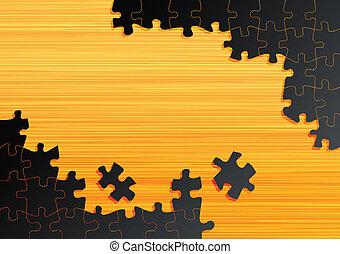 legno, puzzle, jigsaw, vettore, fondo, tavola