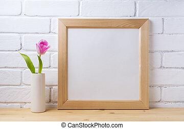 legno, quadrato, cornice, mockup, con, rosa, tulipano