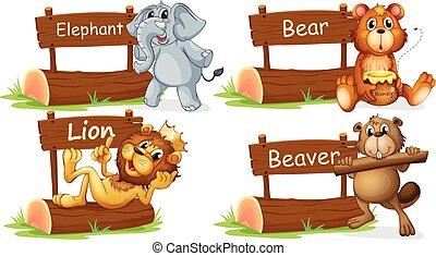 legno, quattro animali, selvatico, segno