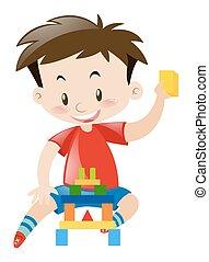 legno, ragazzo, poco, blocchi, gioco