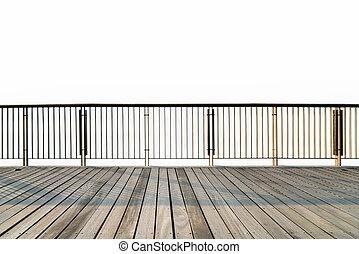 legno, railings, isolato, pavimento