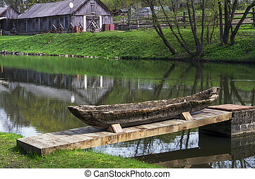 legno, riparazione, barca