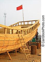 legno, riparazione, barca, campo