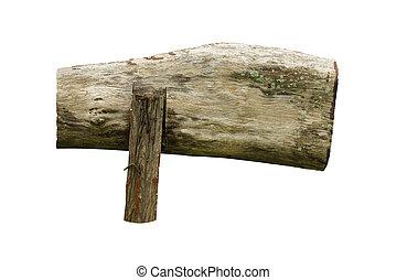 legno, ritaglio, path., bianco, segno, fondo, isolato