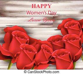 legno, rose, vettore, fondo, donne, giorno, rosso, felice