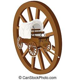 legno, ruota, carro