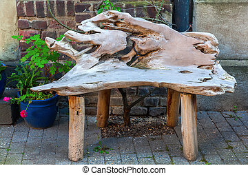 legno, rustico, fronte, casa, panca