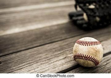 legno, rustico, manopola,  baseball, fondo