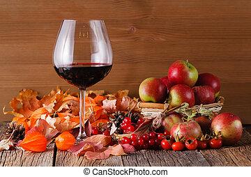 legno, rustico, vetro, fondo, cadere, vino