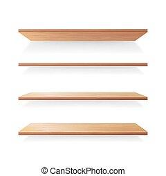 legno, sagoma, mensole, set., isolato, vettore, fondo, bianco, uggia, vuoto
