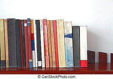 legno, scaffale, libri