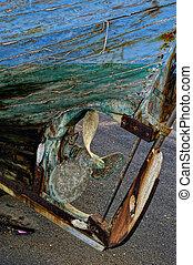 legno, scafo, abbandonato, barca