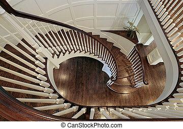 legno, scala spirale, ringhiera
