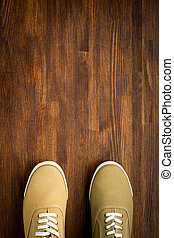 legno, scarpe tennis, trevelaing, fondo