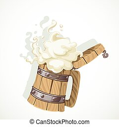 legno, schiumoso, bianco, isolato, tazza, oggetto, birra, fondo