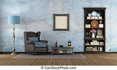 legno, scuro, libreria, vecchio, stanza