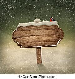 legno, segno, in, neve